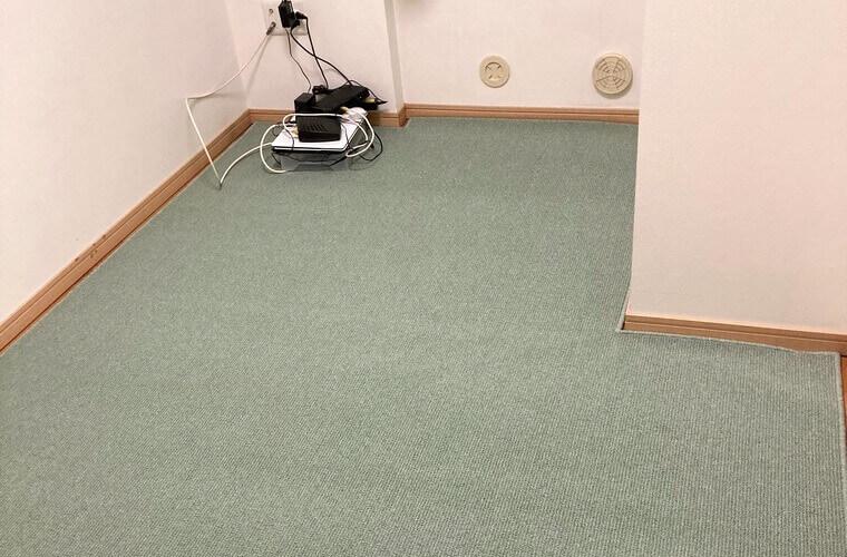変形サイズにも対応!夏でも使えるグリーン系のカーペット