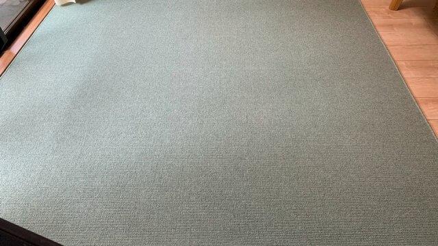 家具や床の木色と合わせやすいグリーンのカーペット