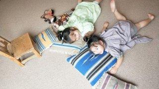 ウールの実力!ごろ寝用にリビング一面に敷いたカーペット