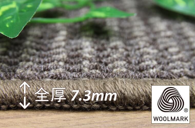 毛 100% ループパイル:2.5~5.5mm/全厚7.3m