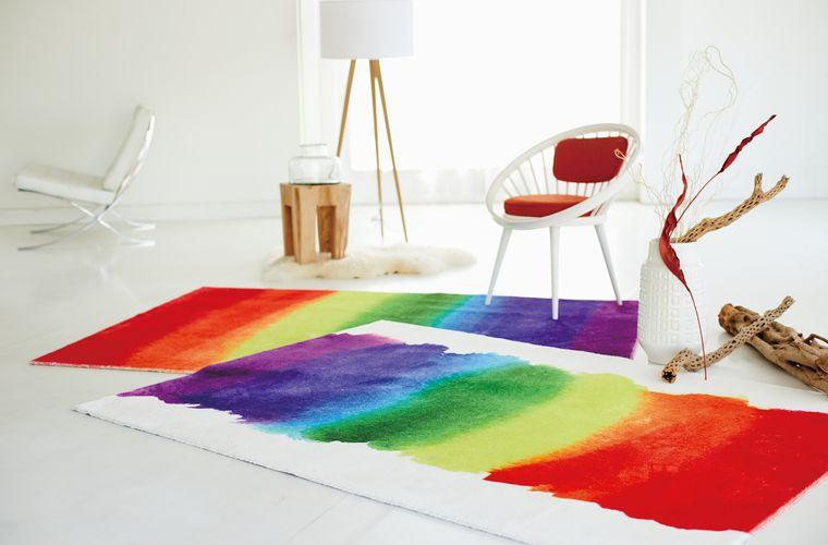 受注生産ラグ・カーペット「MERI RUG/メリラグ」は鮮やかなペイント柄がアートな空間を演出
