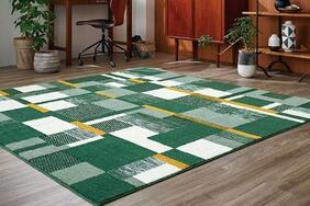 ウォームエコラグ・カーペット「LAWN/ローン」は幾何柄で仕上げた北欧系デザイン