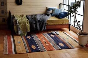 キリム調ラグ・カーペット・マット「TINO/ティノ」はフリンジ付きの可愛い伝統的な民族柄