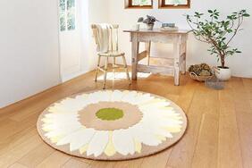 円形ラグマット「GERBERA/ガーベラ」は床暖対応 エレガントな花柄タイプ