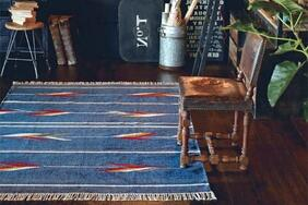 インド製平織りラグ・カーペット・マット「JUTA/ジュタ」は発色の良さが際立つネイビー系・ホワイト系の2色