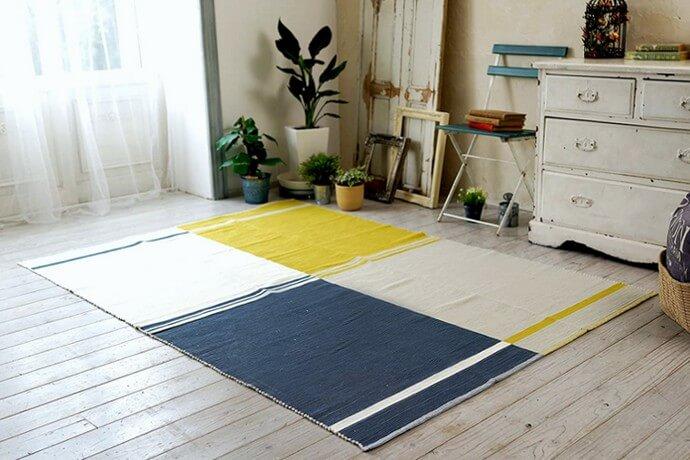 北欧風ラグマット「VIN/ヴィン」は立体な多色使いの綿100%素材!カジュアルなインド製