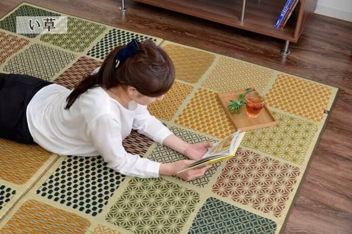 市松模様消臭い草「市松和紋」は裏面は衝撃吸収のウレタンフォーム!和室や洋室にぴったりのモダン柄