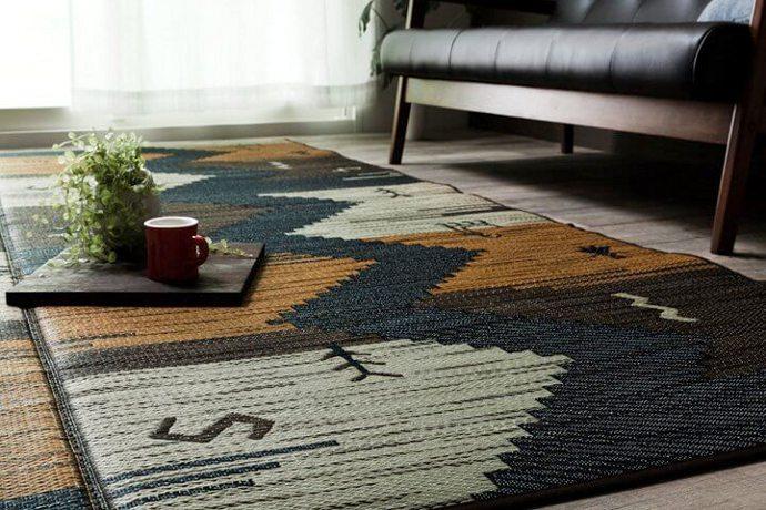 日本製モダンい草カーペット「DARWIN/ダーウィン」は民族柄をイメージさせる和洋折衷なギャベ調デザイン