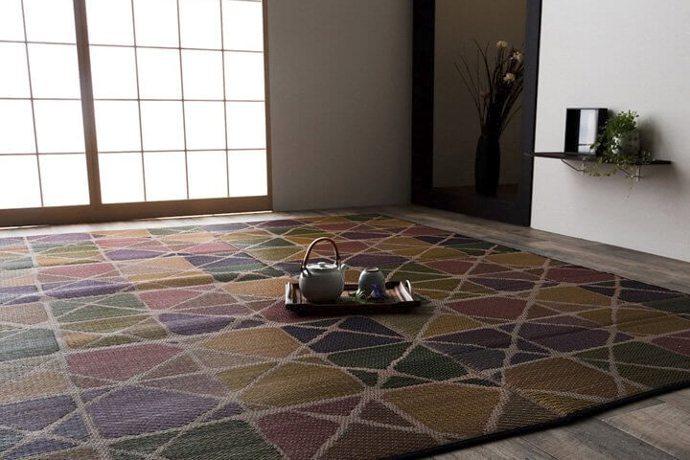 ウレタンフォームい草カーペット「PATEL/パテール」はレトロな雰囲気の市松模様!カジュアルな幾何柄デザイン