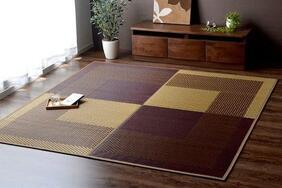 日本製い草カーペット「セセラギ」は畳やフローリングを傷めない不織布タイプ!シックな和モダンカラー